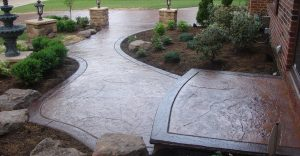 Decorative concrete flatwork installation in Huntersville, North Carolina